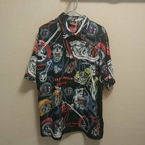 OCO Orange County Chopper Button Front Shirt Sz XL